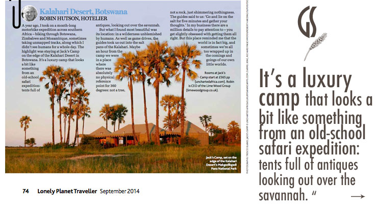 Photo © Jacks Camp. Content copy of Lonely Planet Travel September 2014 - Pick up your copy today! Presented on LuxurySafariCamps.com