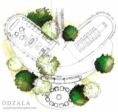Odzala Camps Structure - Dining and Lounge