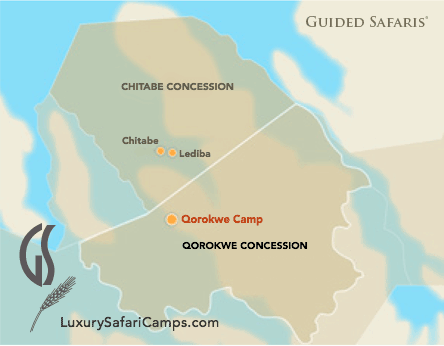 Qorokwe Camp, Botswana Map